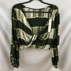 Line & Dot Green Tie Died Long Sleeve Crop Top